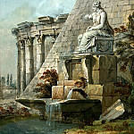 Klerisso, Charles-Louis – Architectural Fantasy with the statue of Terpsichore, part 06 Hermitage