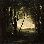 Corot, Jean-Baptiste Camille – Landscape with a lake, part 06 Hermitage