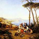 Carelli Consalve A Group Of Peasants With The Bay Naples Beyond, The Italian artists