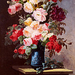 The Italian artists - Viard Georges A Still Life With Roses And Peonies In A Blue Vase