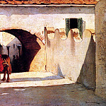 Borrani Odoardo Conversation On A Village Street, Итальянские художники