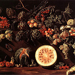 The Italian artists - BONZI Pietro Paolo Fruit Vegetables And A Butterfly