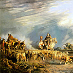 The Italian artists - Carelli Consalvo Goat Herders In A Neapolitan Landscape