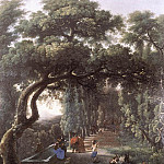 The Italian artists - CERQUOZZI Michelangelo Figures In A Tree Lined Avenue