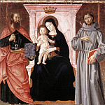 The Italian artists - ANTONIAZZO ROMANO Madonna Enthroned With The Infant Christ And Saints