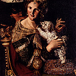 The Italian artists - Caroselli Angelo A Lady With Her Dog An Allegory