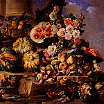 The Italian artists - Campidoglio Michele Pace Del Still Life Of Fruit And Flowers On A Stone Ledge With Birds And A Monkey