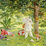 Tessier Louis Adolphe 1855-1911 Pierrot Entertaining In The garden SND 1895 OC 73. 6by91, The Italian artists