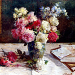 The Italian artists - Barzanti Licinio Roses A Vase And Some Books On A Table