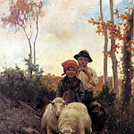 Bruzzi Stefano Children With Sheep On A Path, Итальянские художники