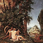 The Italian artists - ALSLOOT Denis van Landscape With Satyr Family