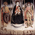 LORENZO DA VITERBO Madonna Enthroned With The Infant Christ St Peter And St Michael, The Italian artists