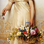The Italian artists - Costa Giovanni A Young Lady Holding A Basket Of Flowers