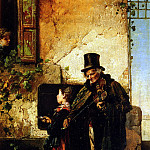 Induno Domenico The Old Musician, The Italian artists