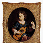 Mignard Pierre A Young Girl Playing A Guitar, Pierre Mignard