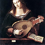 The Italian artists - BARTOLOMEO VENETO Woman Playing A Lute