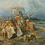 Go Jews through the Red Sea. . The second half of XIX century. Rybinsk, Kotarbinski William A. (1849-1922)
