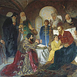 Patient Prince Dmitry Pozharsky accept Moscows ambassadors. 1882 Omsk, Kotarbinski William A. (1849-1922)