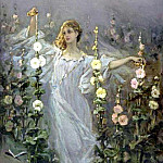 Kotarbinski William A. (1849-1922) - Girl Between Hollyhocks, private collection 1