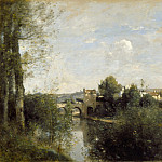 Seine and Old Bridge at Limay, Jean-Baptiste-Camille Corot