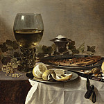 Pieter Claesz III – Still Life with Herring, Wine and Bread, Los Angeles County Museum of Art (LACMA)