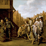 Los Angeles County Museum of Art (LACMA) - Jacob Duck - A Street Scene with Knife Grinder and Elegant Couple