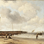 Beach with a Weyschuit Pulled up on Shore, Willem van de Velde the Younger