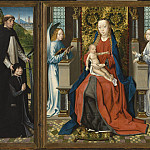 Los Angeles County Museum of Art (LACMA) - Master of the St. Lucy Legend - Triptych of Madonna and Child with Angels; Donor and His Patron Saint Peter Martyr; and Saint Jerome and His Lion