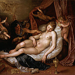 The Sleeping Danae Being Prepared to Receive Jupiter, Hendrick Goltzius