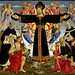 Los Angeles County Museum of Art (LACMA) - Master of the Fiesole Epiphany - Christ on the Cross with Saints Vincent Ferrer, John the Baptist, Mark and Antoninus