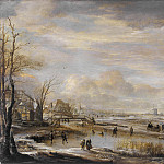 Los Angeles County Museum of Art (LACMA) - Aert van der Neer - Frozen River with a Footbridge