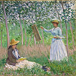 In the Woods at Giverny: Blanche Hoschede at Her Easel with Suzanne Hoschede Reading, Claude Oscar Monet