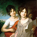 900 Classic russian paintings - Borovikovsky Vladimir - Portrait of Princess Anne Gavriilovny Gagarina and Princess Varvara Gagarin Gavriilovny
