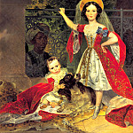 BRYULLOV Karl - Portrait of children with Volkonskiis arap, 900 Classic russian paintings