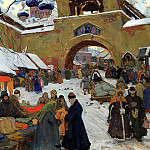 Goryushkin-Sorokopudov Ivan – Market day, 900 Classic russian paintings