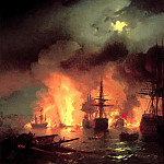 900 Classic russian paintings - Ivan Aivazovsky - The Battle of 25-26 June 1770