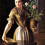 Tropinin Basil - Girl with a pot of roses. 1850, 900 Classic russian paintings