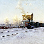 Kazantsev Vladimir - at the station. Winter morning at the Ural Railway, 900 Classic russian paintings