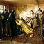 LEBEDEV Claudius – Tsar Ivan the Terrible requests Abbot Cornelius mow it monks, 900 Classic russian paintings