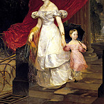 900 Classic russian paintings - BRYULLOV Karl - Portrait of Grand Duchess Elena Pavlovna and her daughter Maria. 1830