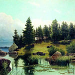 Meshchersky Arseny - At Forest Lake, 900 Classic russian paintings