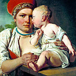 Venetsianov Alexei - Nurse with child, 900 Classic russian paintings