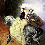 900 Classic russian paintings - BRYULLOV Carl - Riders (Portrait EI Mussard and E. Mussard)
