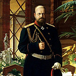 Dmitriev-Orenburgsky Nikolai - Portrait of Emperor Alexander III, 900 Classic russian paintings