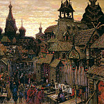 900 Classic russian paintings - Vasnetsov Apollinary - Old Moscow. Street in China-town in early XVII century