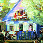 Kustodiyev Boris - Blue House, 900 Classic russian paintings
