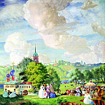 900 Classic russian paintings - Kustodiyev Boris - Summer landscape