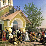 Morozov Alexander - Exit from the church in Pskov, 900 Classic russian paintings