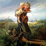 900 Classic russian paintings - MAKOVSKY Constantine - children fleeing from the storm