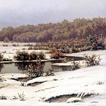 VOLKOV Yefim – First Snow, 900 Classic russian paintings